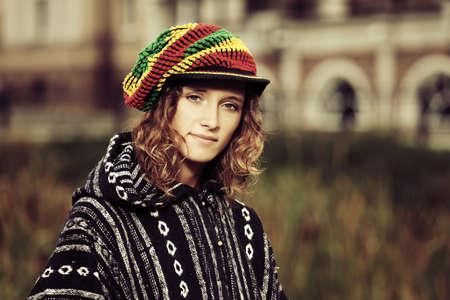 rasta hat: Young fashion hippie woman outdoor Stock Photo