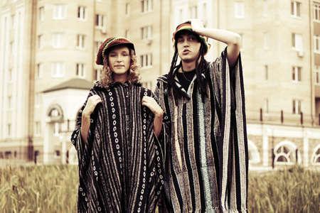 rasta hat: Young fashion hippie couple outdoor Stock Photo
