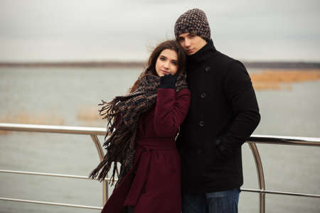 love life: Happy young couple in love walking outdoor
