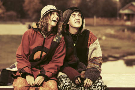 rasta hat: Happy young fashion hippie couple outdoor