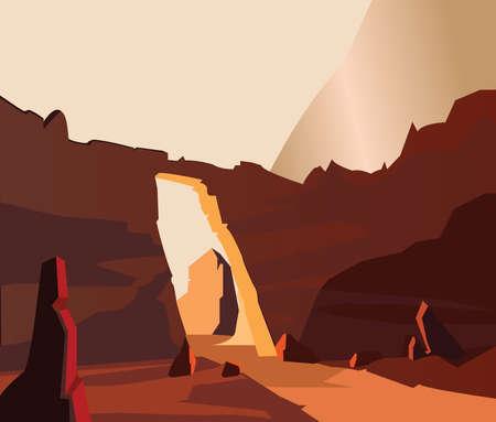 Terrain de pierre avec illustration de la cascade. Vecteurs