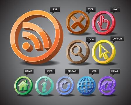 Dreidimensionale Ikonen des world wide web. Standard-Bild - 11019361