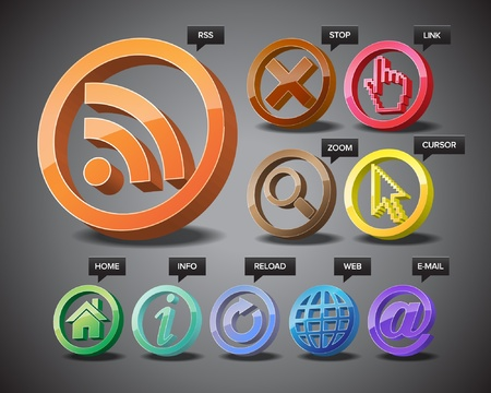 Three-dimensional icons of world wide web. Stock Vector - 11019361