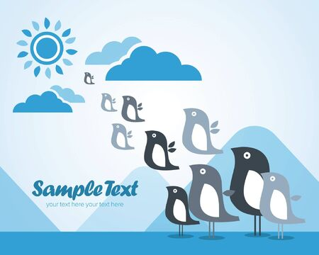 Ready-made illustrative greeting card with cute birds for every occasion. Stock Vector - 11019357