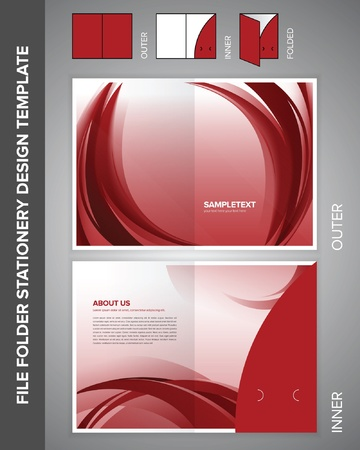 File folder stationery design template with abstract illustration. 矢量图像