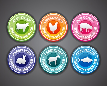 pork chop: Set of freshness and quality guaranteed stamps with animal silhouettes. Illustration