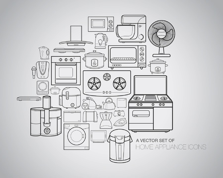 A vector collection of home appliance icons and line illustrations. Vector