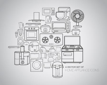 Een vector inzameling van huishoudelijke apparatuur, pictogrammen en illustraties.