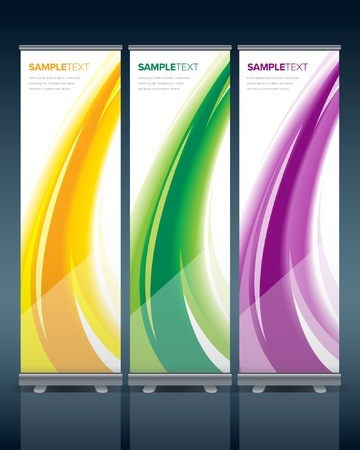 banner stand: Abstract bunting design template with ready-made stand.