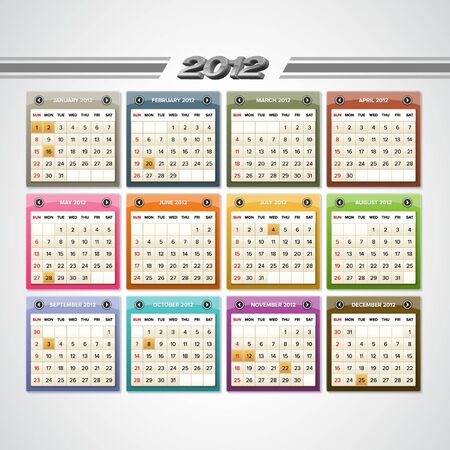 Colorful glossy calendar for 2012 with public holidays indications. Illustration