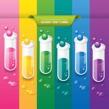 sustancias toxicas: Tubo de ensayo sobre un fondo colorido Vectores