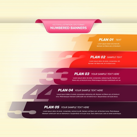 Numbered banner design template in colorful colors  Illustration