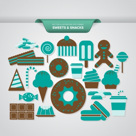 A complete set of sweets and snacks icons in turquoise and brown colors  Vector