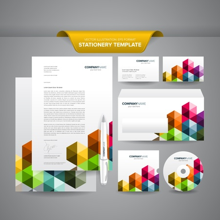Complete set of business stationery template such as letterhead, business cards, envelope, CD cover, etc
