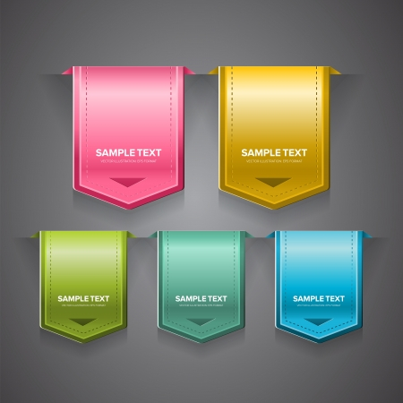 A set of colorful bookmarks, labels, stickers or indicators. Illustration