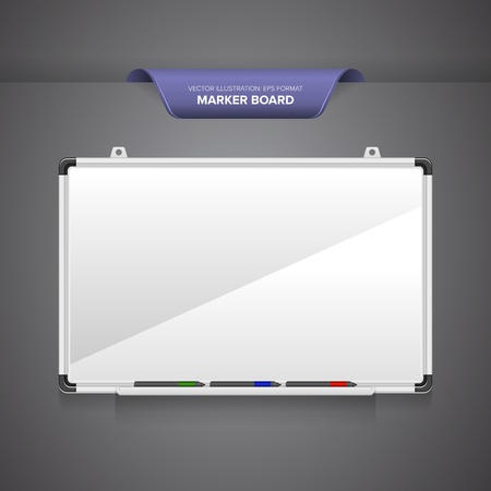 Marker board or whiteboard with markers isolated on blank grey background. Vector