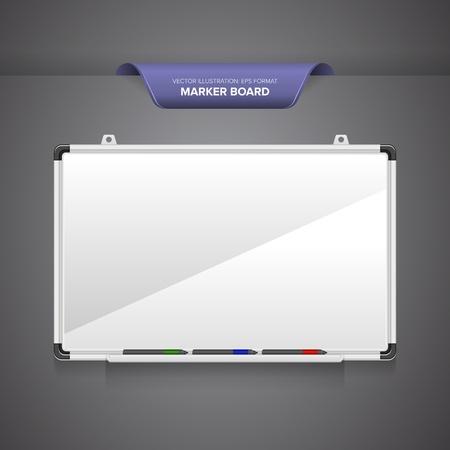 whiteboard: Tellersraad of whiteboard met stiften op een lege grijze achtergrond.
