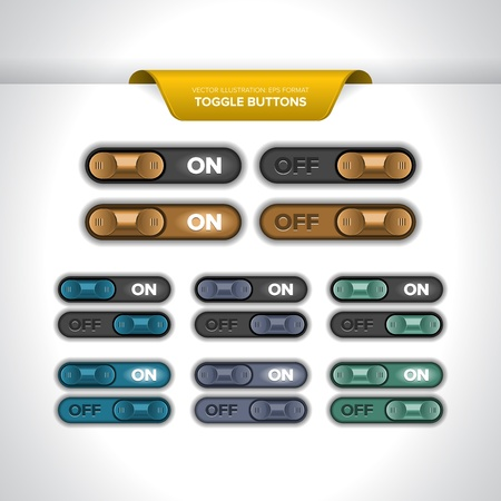 Realistic toggle buttons or sliders (ON/OFF). Stock Vector - 18813095