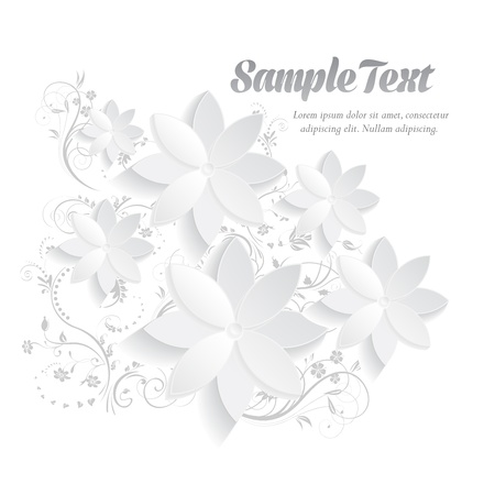 Abstract three-dimensional paper graphics with floral elements for greeting cards template
