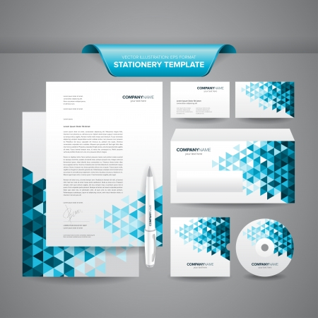 Complete set of business stationery template such as letterhead, envelope, business card, etc  Иллюстрация
