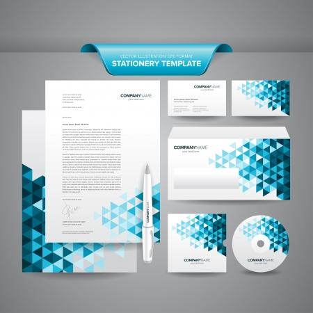 papier en t�te: Ensemble complet de mod�le de papeterie d'affaires comme en-t�te, enveloppes, cartes de visite, etc