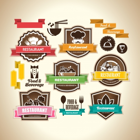 Collection of vintage retro grunge food, beverage and restaurant labels, badges and icons