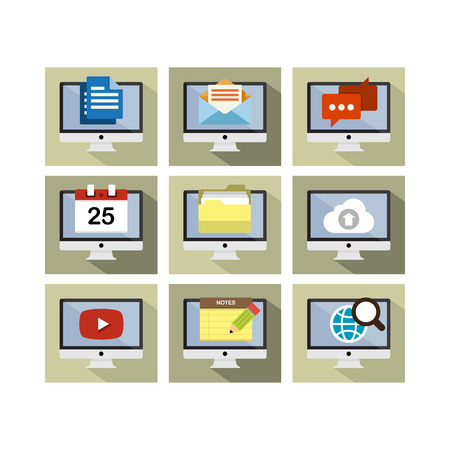 A set of flat icon design of computer technology with multiple functions  Vector