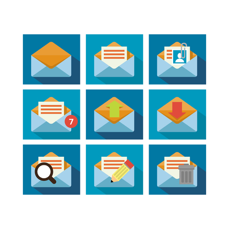 A set of flat icon design of mailing technology with multiple functions