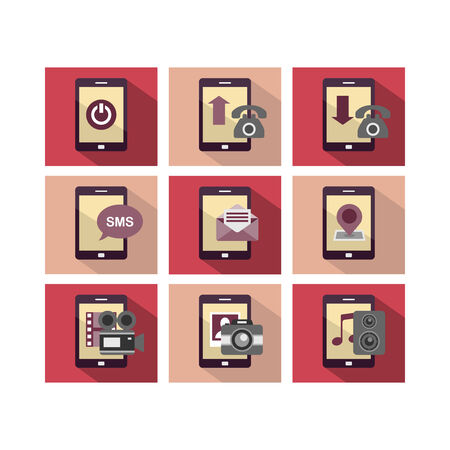 A set of flat icon design of mobile phone technology with multiple functions