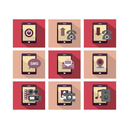 Eine Reihe von Flach Icon Design der Handy-Technologie mit mehreren Funktionen Standard-Bild - 24226758