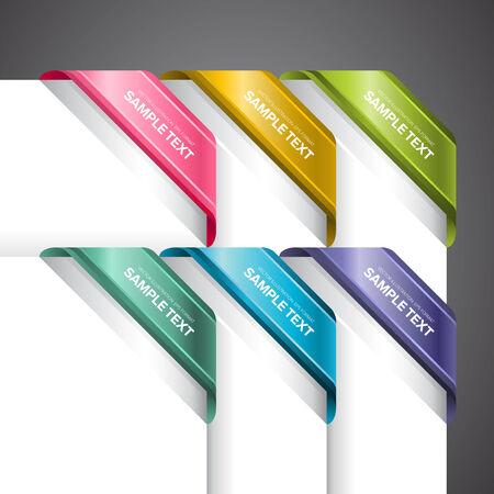 Eine Reihe von bunten Etiketten an der Ecke der Seite Standard-Bild - 26051090