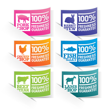 Colourful beef, chicken, pork, lamb, rabbit and fish stickers with freshness and quality guaranteed stamps  Vector