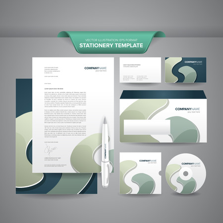 Complete set of business stationery templates such as letterhead, envelope, business card, etc with colourful and impressive brand identity  Illustration