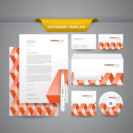 impressive: Complete set of business stationery templates such as letterhead, envelope, business card, etc with colourful and impressive brand identity  Illustration