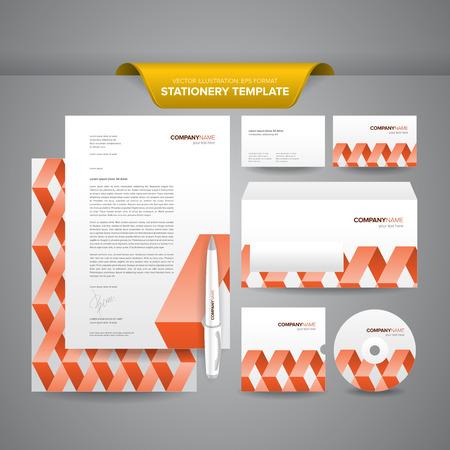 Komplett-Set von Business-Briefpapiervorlagen wie Briefpapier, Umschlag, Visitenkarte, etc mit bunten und eindrucksvollen Markenidentität Standard-Bild - 26051136