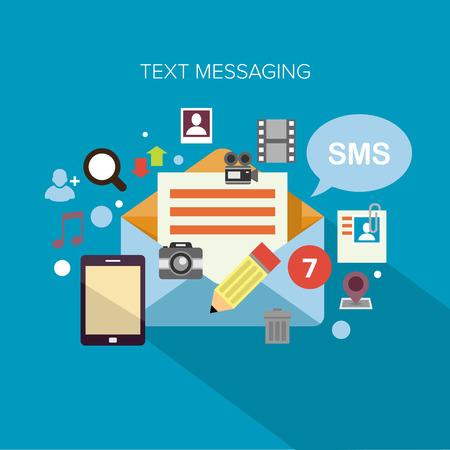 Flache Design-Konzept Vektor-Illustration von einer Wolke von bunten Programmsymbole von Text-Messaging umgeben Standard-Bild - 26051065