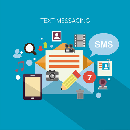 Flat design concept vector illustration surrounded by a cloud of colourful application icons of text messaging