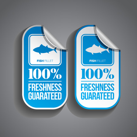 Fish fillet food sticker with freshness guaranteed stamp