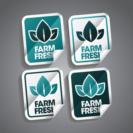 Farm fresh stickers set  Vector