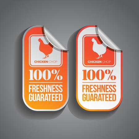 Huhn hacken Lebensmittelaufkleber mit Frische-Garantie Stempel Standard-Bild - 26591450