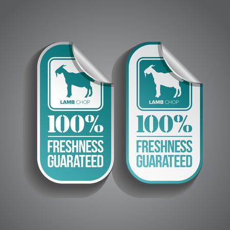 Lammkotelett Lebensmittel Aufkleber mit Frische-Garantie Stempel Standard-Bild - 26591453