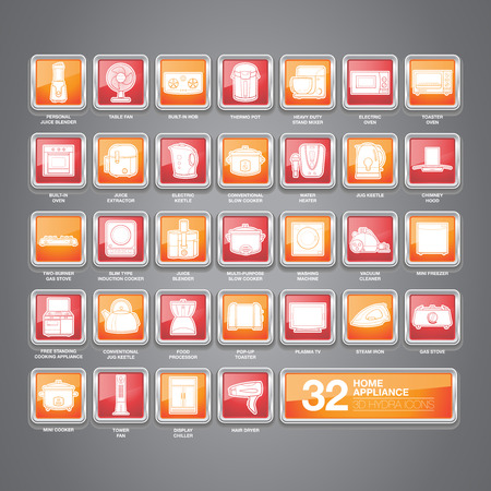 A set of home appliance icons including kitchen appliances, small domestic appliances, air treatment appliances, house keeping appliances, etc  Vector