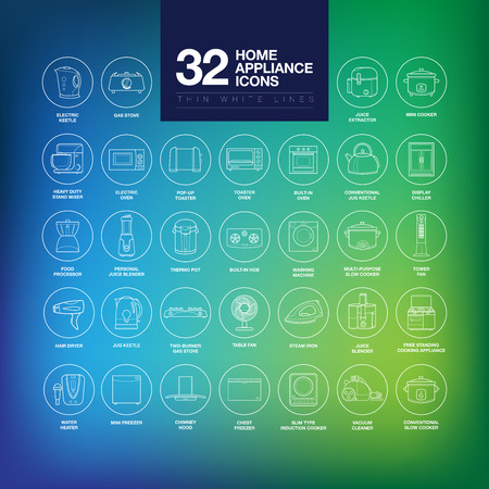home keeping: A set of home appliance icons including kitchen appliances, small domestic appliances, air treatment appliances, house keeping appliances, etc