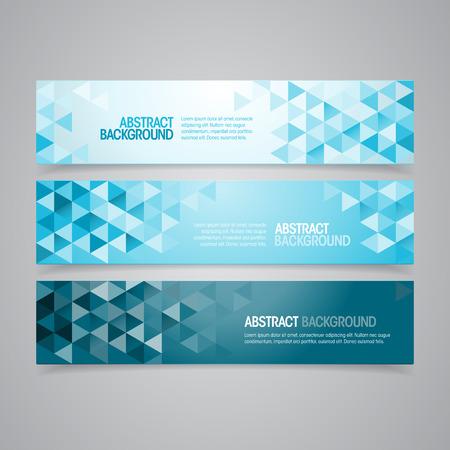 Un conjunto de vectores de diseño de banners geométrica que se puede utilizar en el diseño de la cubierta, el sitio web de fondo o la publicidad