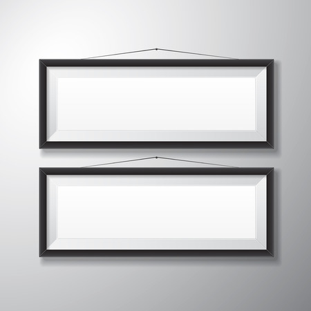 Realistic horizontal black picture frames with empty space isolated on white background for presentation and showcasing purposes  Vector