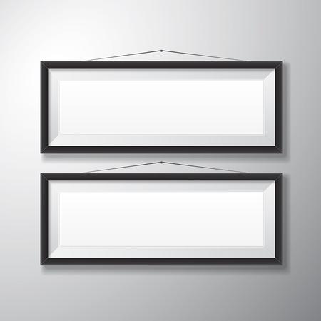 Realistische horizontalen schwarzen Bilderrahmen mit leeren Raum isoliert auf weißem Hintergrund für die Präsentation und präsentiert Zwecke Standard-Bild - 27529338