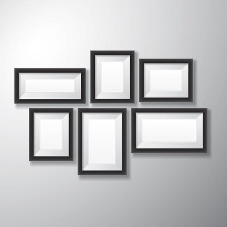 다양한 프레 젠 테이션을위한 흰색 배경에 격리하는 빈 공간이 현실적인 검은 그림 프레임의 크기와 전시 목적 일러스트