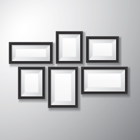 Variety sizes of realistic black picture frames with empty space isolated on white background for presentation and showcasing purposes