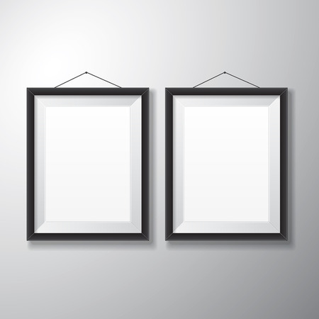 Realistic vertical black picture frames with empty space isolated on white background for presentation and showcasing purposes  Vector