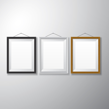 Variety types of realistic vertical picture frames with empty space isolated on white background for presentation and showcasing purposes  Illustration